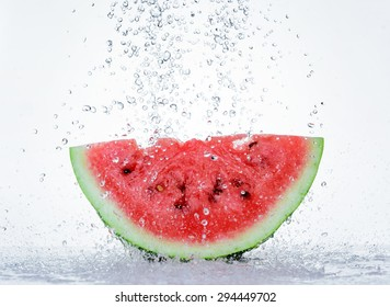 Red watermelon with splash of water