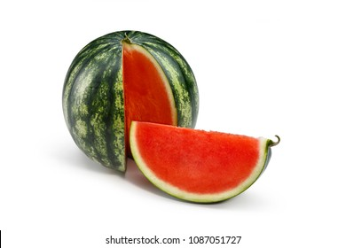 Red watermelon and wedge without seeds on white background