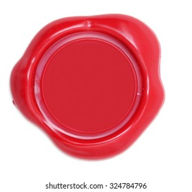 Red wax seal with blank seal area.