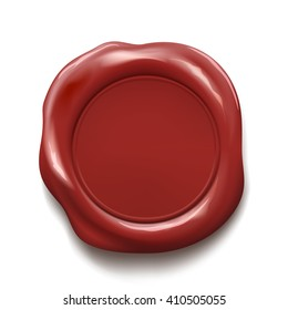 Red wax seal isolated on white background. Stock illustration.