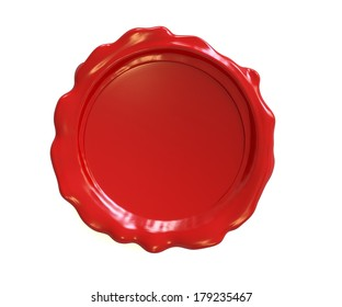 Red wax seal or stamp isolated