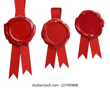 Red wax seal stamps with ribbon isolated on white