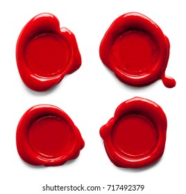 Red Wax Seals Isolated on White Background.