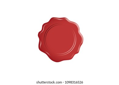 Red wax stamp seal view, isolated on white background.