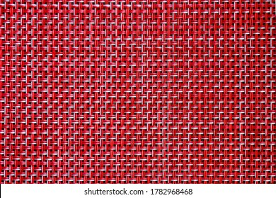 Red weave seamless texture of bamboo wicker rattan basket pattern background. Rough wooden wicker texture, red weave texture detail. Square vintage weave textile texture. Wicker fabric basket pattern