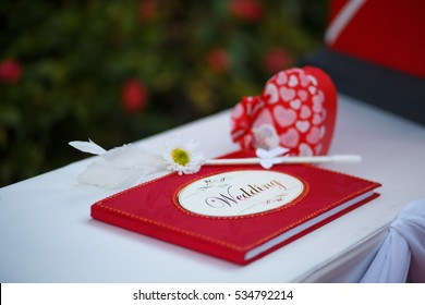 Red wedding guest book
