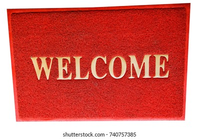 Red welcome mat on white background with clipping path.