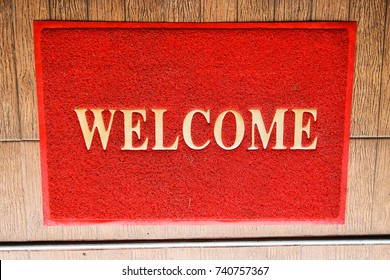 Red welcome mat texture background