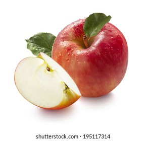 Red wet honeycrisp apple and quarter isolated on white background for package design
