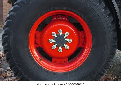 red wheel tire tractor large metal rim