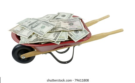 Red wheelbarrow full of large amount of money - path included