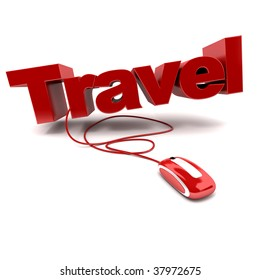 Red and white 3D illustration of the word travel connected to a computer mouse
