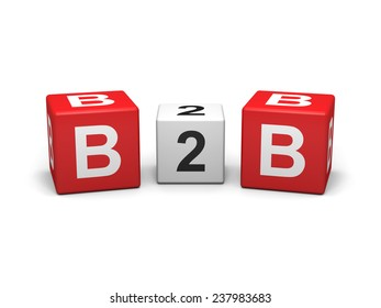 Red and white b2b cubes on white background