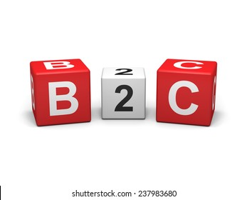 Red and white b2c cubes on white background