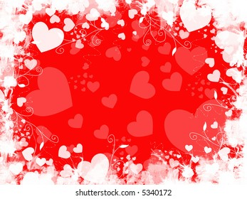 Red and white background with grunge edges and hearts