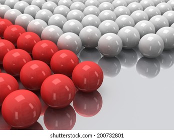 Red and white balls on mirror floor as abstract background. Orbs, sphere, glob concept. 3D render.