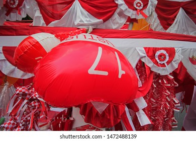 Red and white Balon as symbol of indonesia independence day