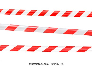 red and white barricade on white background.Realistic red and white danger tape.Danger tapes set for Hazard or Danger protect people from Hazard area.Red and white tapes collection.