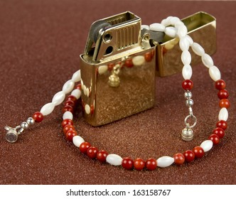 red and white beaded necklace