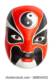 Red, white and black Chinese mask