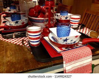 Red White blue 4th of July table setting