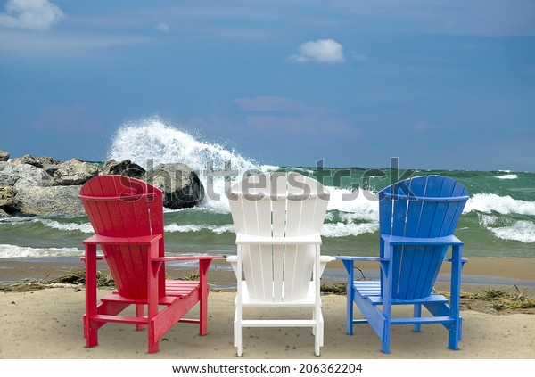 Fabulous Red White Blue Adirondack Chairs On Stock Photo Edit Now Short Links Chair Design For Home Short Linksinfo