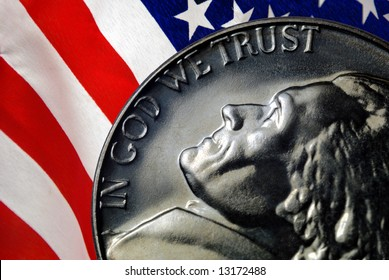 Red, White, and Blue From American Flag Reflected in God We Trust Motto on Vintage, Retro, 1967 United States Nickel