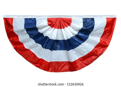 Red white and blue banting isolated over white background - With Clipping Path