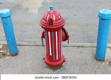 Red, white and blue fire hydrant in New York