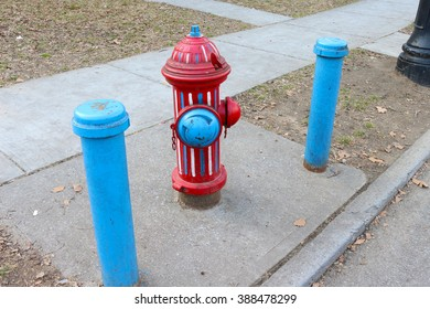 Red, white and blue Fire hydrant from the side