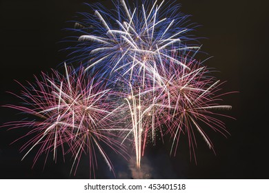 Red white and blue fireworks display national holiday concept