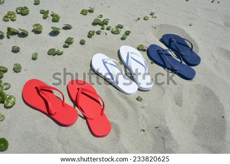 16f9c17f3 Red White Blue Flip Flops On Stock Photo (Edit Now) 233820625 ...