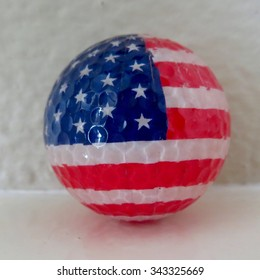 Red White and Blue Golf Ball