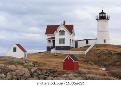 Red, white and blue lighthouse on Nubble Island