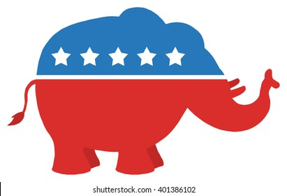 Red White And Blue Republican Elephant. Raster Illustration Flat Design Style Isolated On White