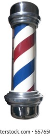 Red, white and blue striped barber pole. Isolated. vertical.