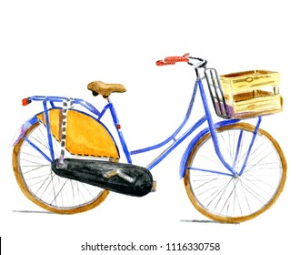 Red white and blue typical Dutch bike in water color isolated over white background