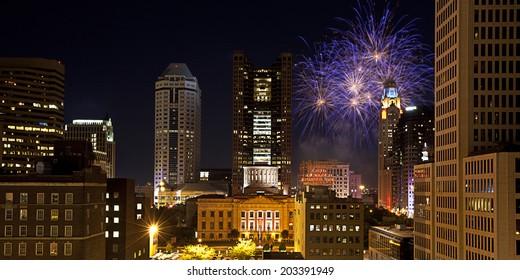 Red, White & Boom light the Columbus, Ohio skyline.