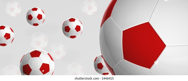 Red and white bouncing football balls with reflection