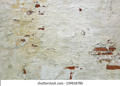 Red White Brickwork Texture. Old Whiten Shabby Brick Wall Horizontal Background. Brickwall Rustic Backdrop. Whitewashed Stonewall Plastered Surface. Dark Gray Stonework  With Uneven Stucco Layer