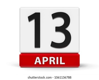 Red and white calendar icon from cubes - The Thirteenth of April - on a white table -  3D illustration