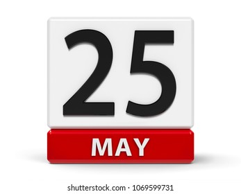 Red and white calendar icon from cubes - The Twenty Fifth of May - on a white table - International Missing Children Day, World Thyroid Day and Africa Day, three-dimensional rendering, 3D illustration
