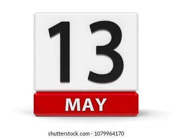 Red and white calendar icon from cubes - The Thirteenth of May - on a white table, three-dimensional rendering, 3D illustration
