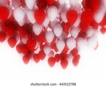 Red and white celebration balloons background. 3D Illustration