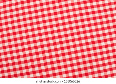 Red and white checkered fabric, traditional picnic tablecloth