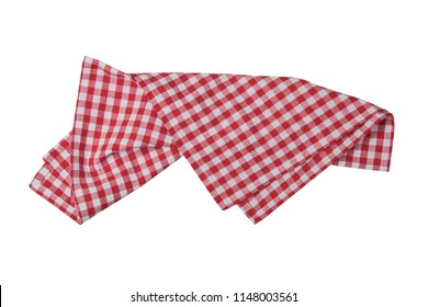 Red and white checkered napkin isolated on white background.