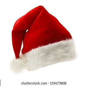Red and White Christmas Hat Isolated on White Background.