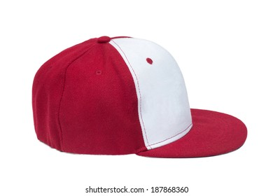 red and white color baseball caps isolated on white background