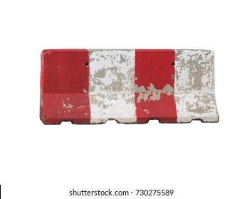 Red and white concrete barrier isolated on white background with clipping path.