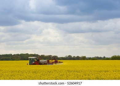 a red and white crop sprayer treating a field of bright yellow rapeseed on a cloudy evening